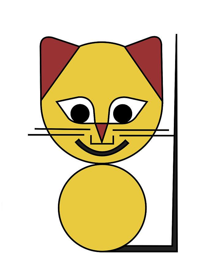 Cat Digital Art - Yellow Cat by Asbjorn Lonvig