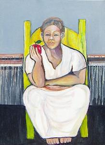 Framed Painting - Yellow Chair And Apple by Ruth Olivar Millan
