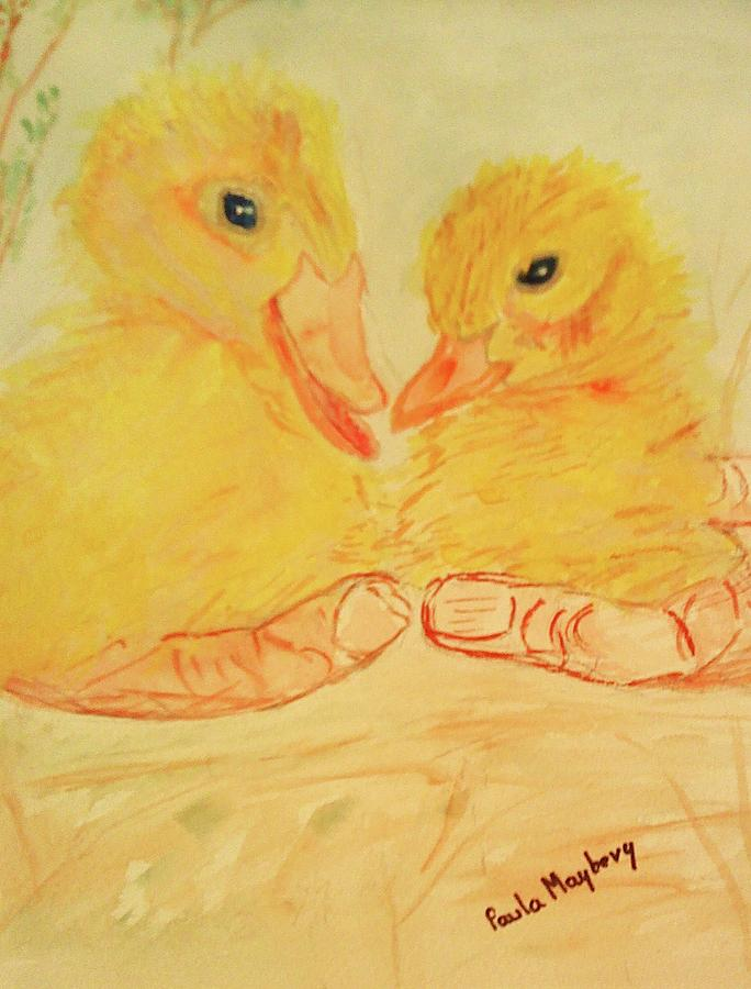 Yellow Painting - Yellow Chicks by Paula Maybery