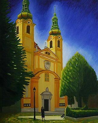 Building Painting - Yellow Church-vienna by Stephen Degan