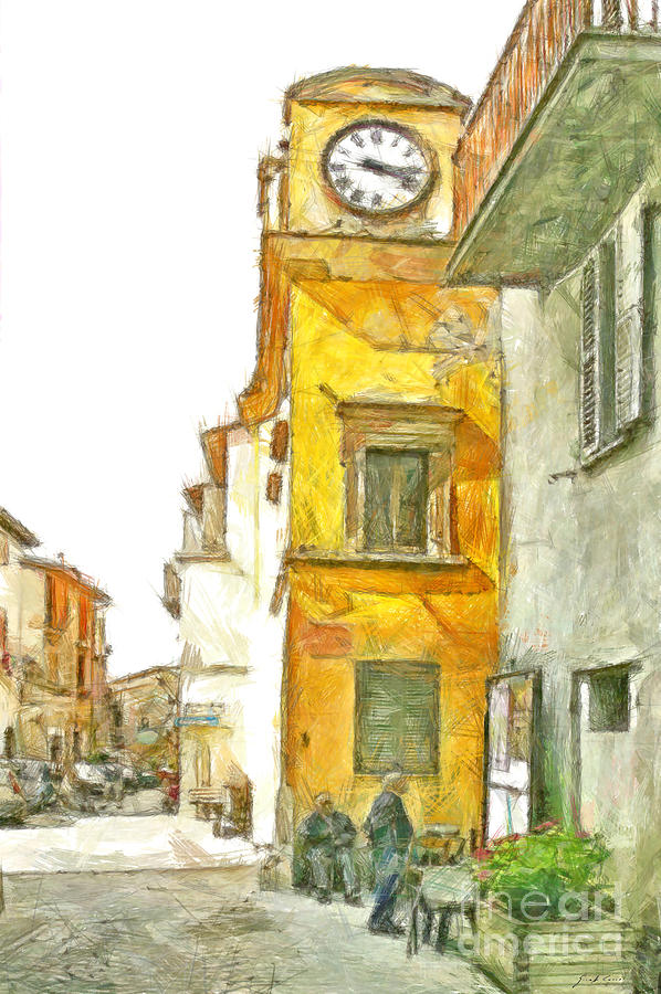 Pencil Digital Art - Yellow Clock Tower by Giuseppe Cocco