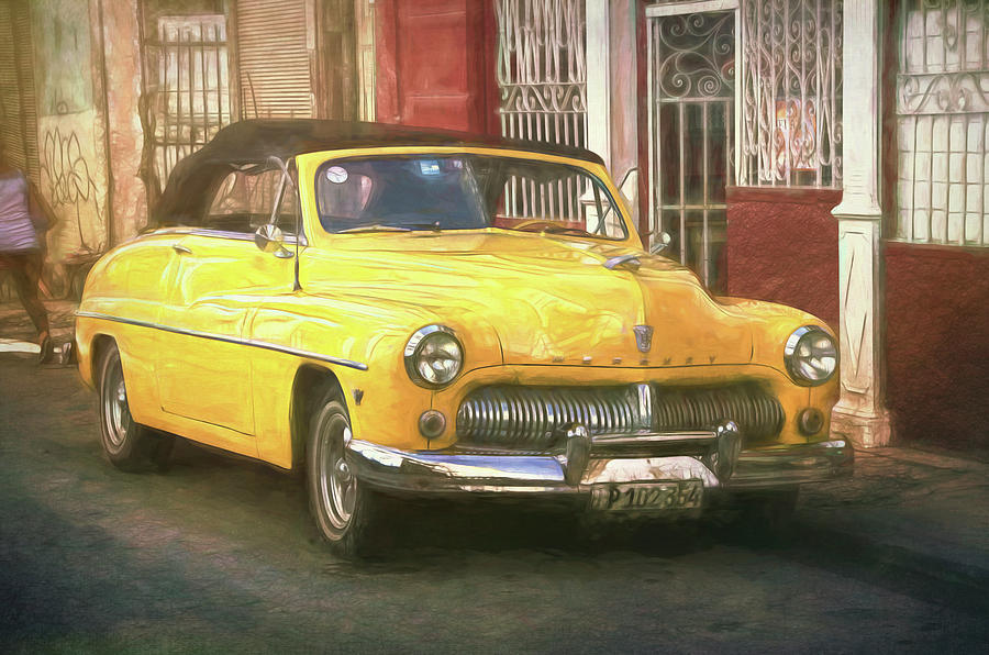 Cuba Photograph - Yellow Convertible Mercury by Claude LeTien