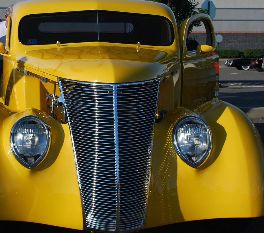Automobile Photograph - Yellow Coupe by William Thomas