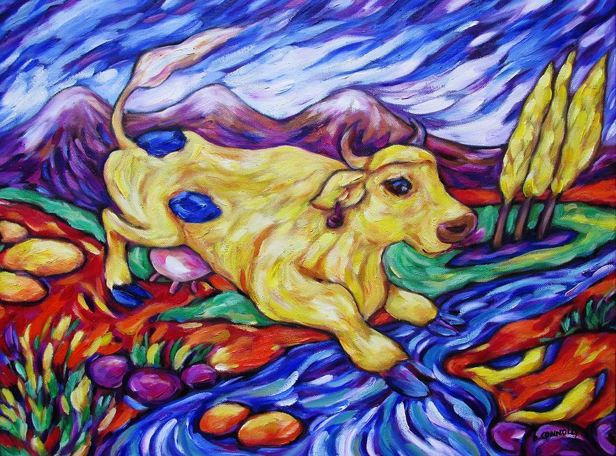 Animals Painting - Yellow Cow Jumps The Creek by Dianne  Connolly