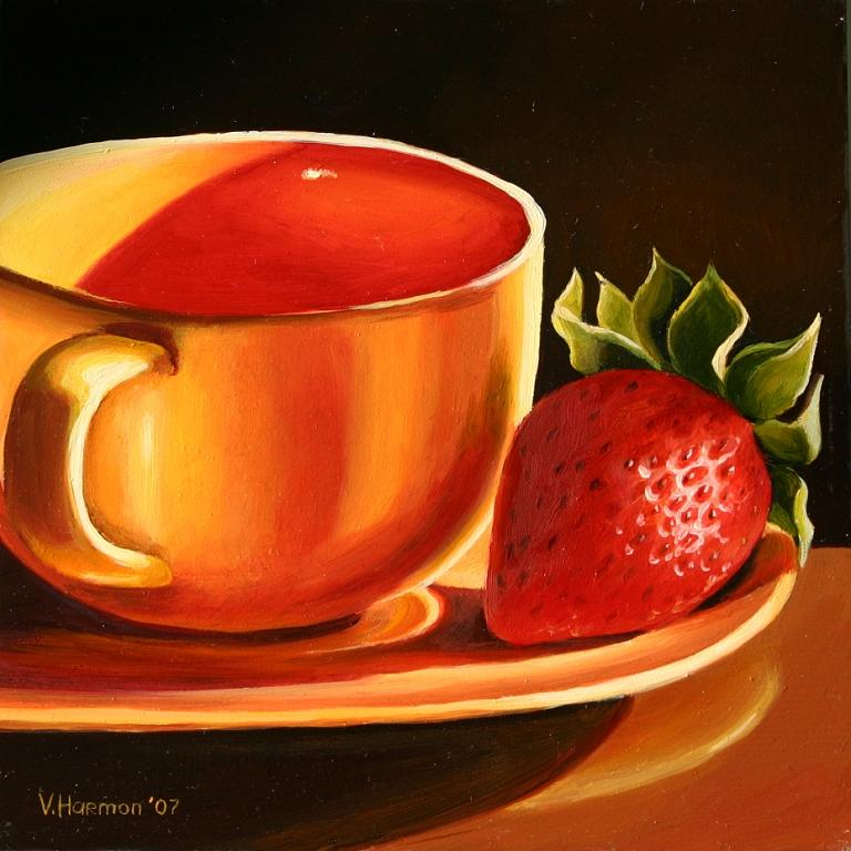 Still Life Painting - Yellow Cup With Strawberry by Varvara Harmon