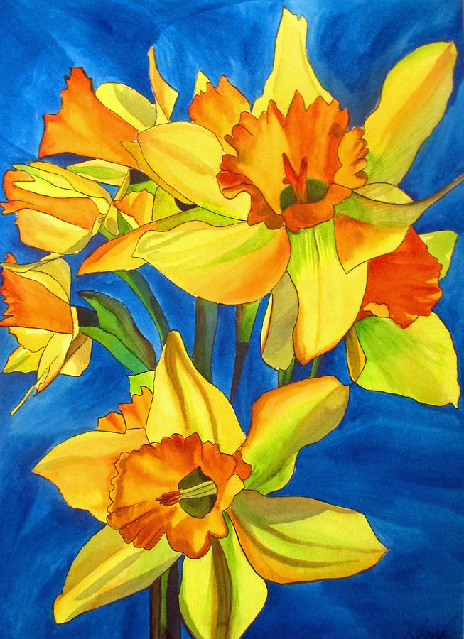 Daffodils Painting - Yellow Daffodils by Sacha Grossel