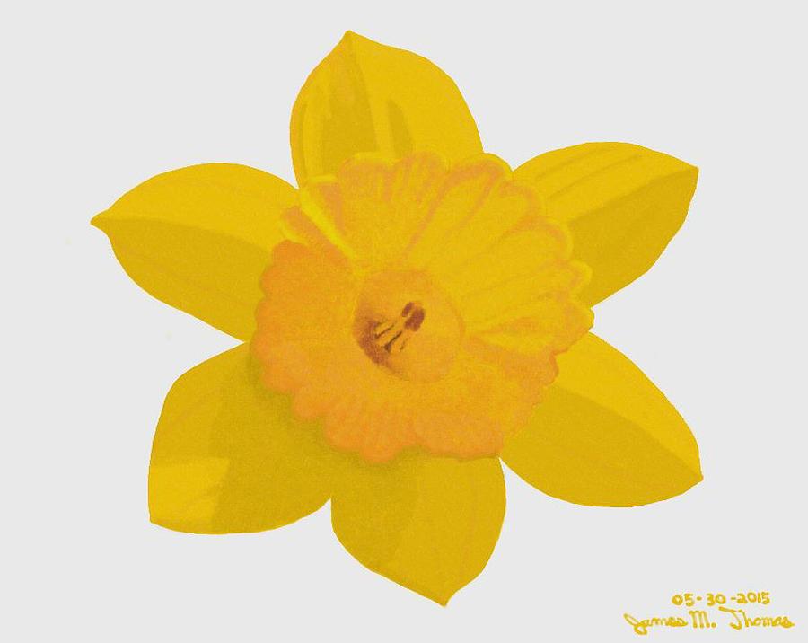 Yellow Digital Art - Yellow Daffodil by James M Thomas