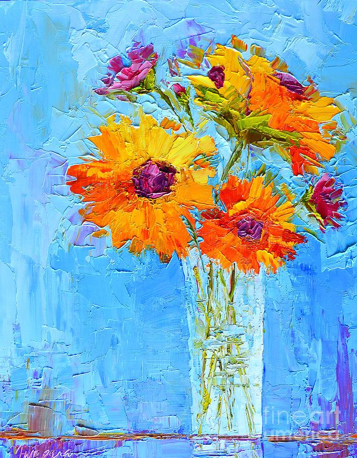 Yellow Daisies Flowers - Peonies in a Vase - Modern ...