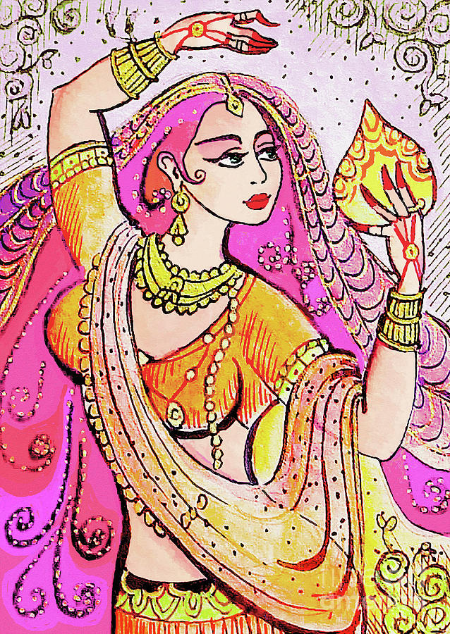 Indian Dancer Painting - Yellow Devi by Eva Campbell