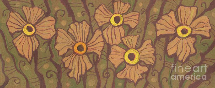 Yellow-eyed Flowers Pastel