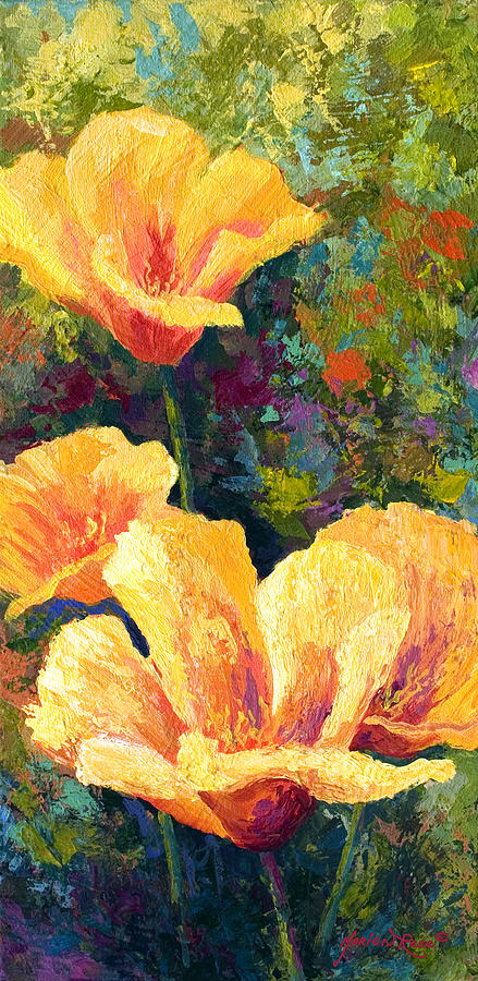 Poppies Painting - Yellow Field Poppies by Marion Rose