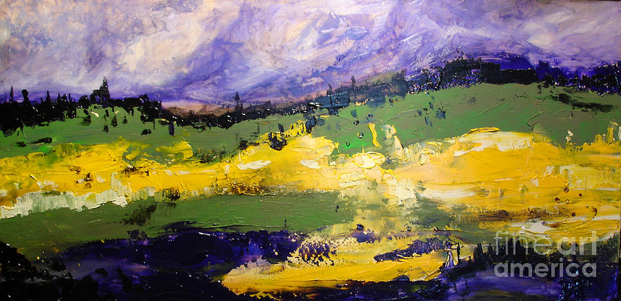 Abstract Landscape Painting - Yellow Fields by Maria Curcic