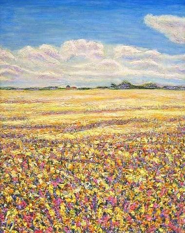 Texture Painting - Yellow Fields by Richard Nowak