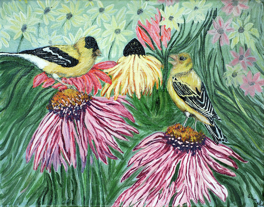 Finch Painting - Yellow Finches by Ann Ingham