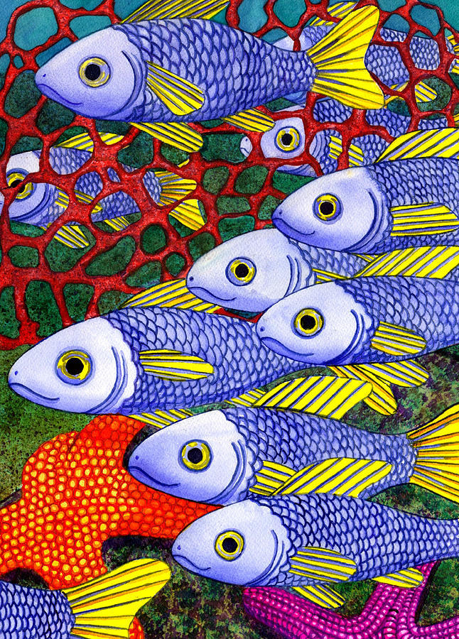 Fish Painting - Yellow Fins by Catherine G McElroy