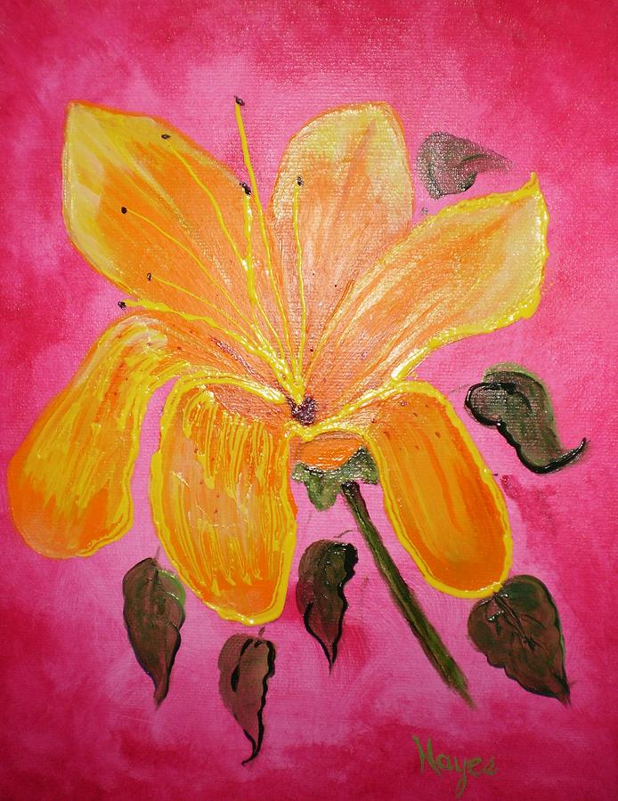 Yellow Painting - Yellow Flower by Barbara Hayes