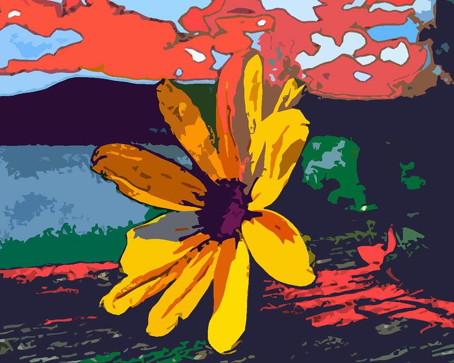 Flower Digital Art - Yellow Flower by Mehdi Mehrvarz