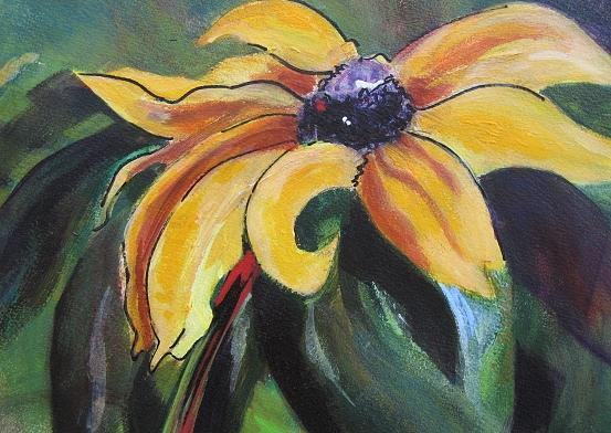 Floral Painting - Yellow Flower by Vicki Brevell