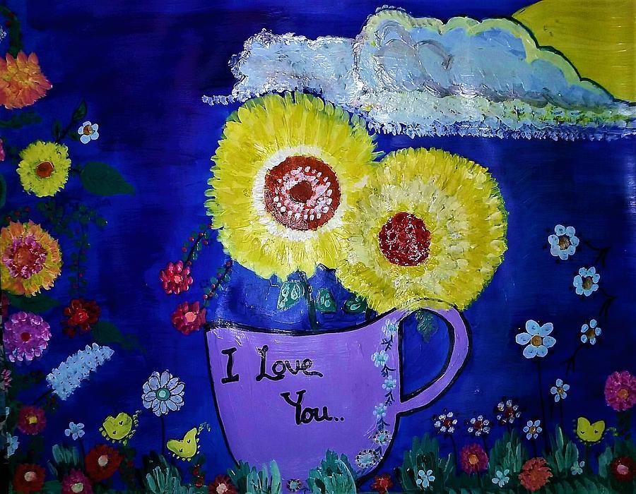 Pink Flowers Painting - Yellow flowers in purple cup. by Lynette Fekete