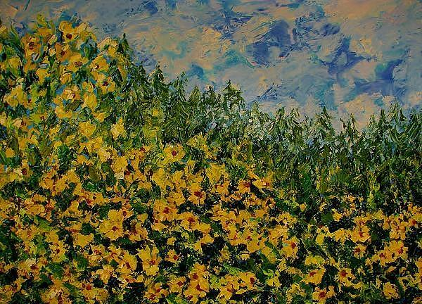 Yellow Flowers Painting - Yellow Flowers by Kat Griffin