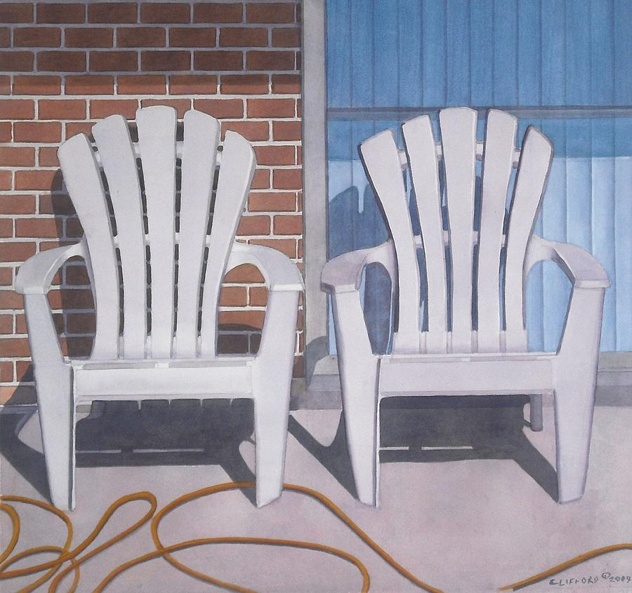 Adirondack Chairs Painting - Yellow Garden Hose by Cory Clifford