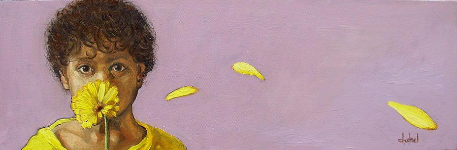 Boy Painting - Yellow Gerbera On Purple by Ixchel Amor