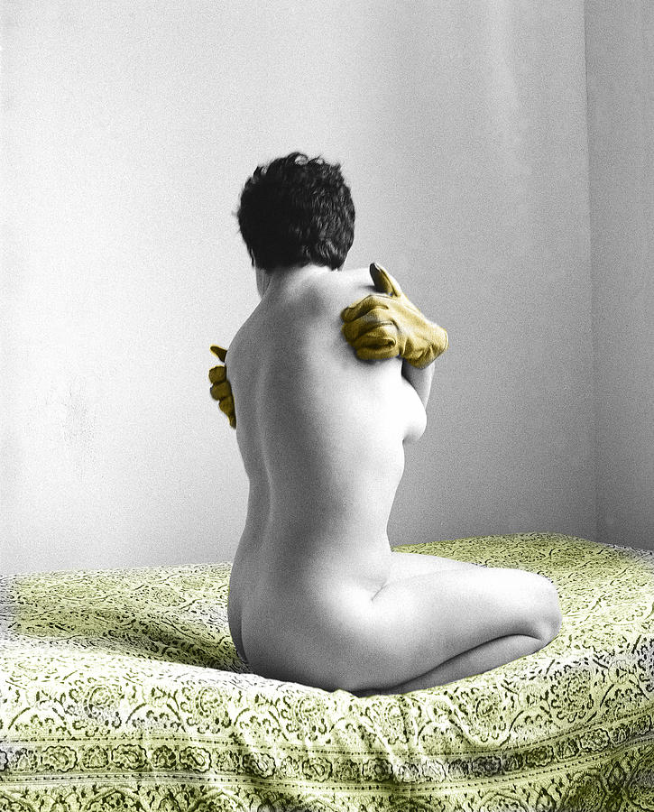Nude Photograph - Yellow Gloved Back by Jan W Faul