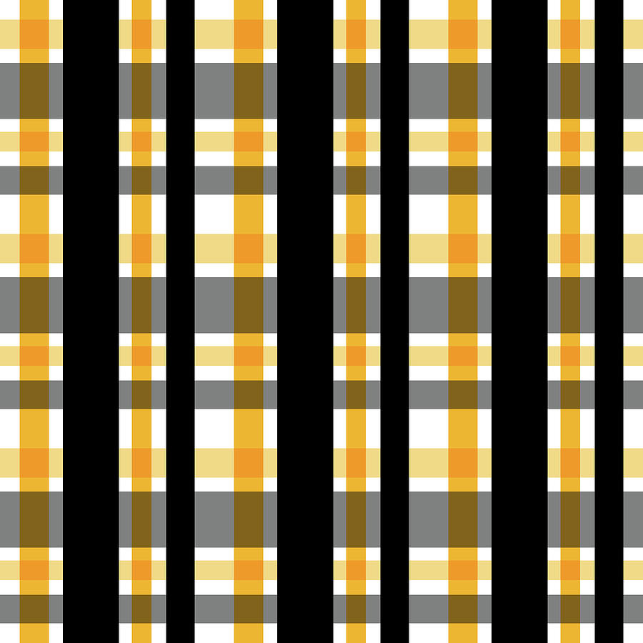 Yellow Gold and Black Plaid Striped Pattern Vrsn 1 by Shelley Neff