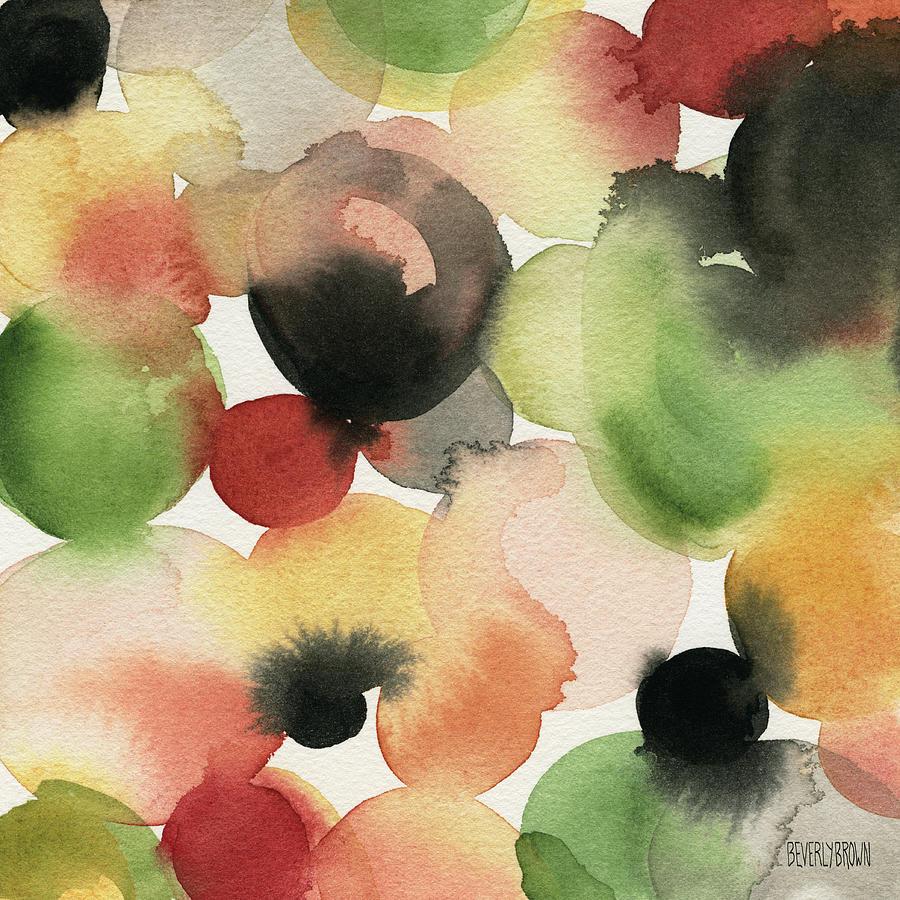 Yellow Green Orange Black Abstract Watercolor