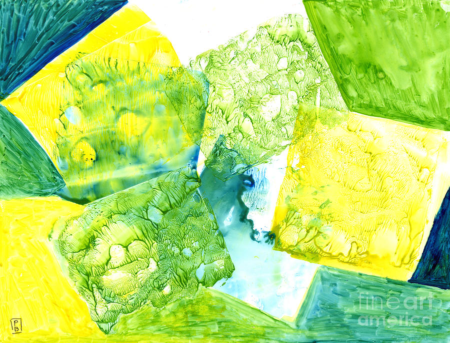 Yellow-Green Squares Abstract by Phyllis Brady