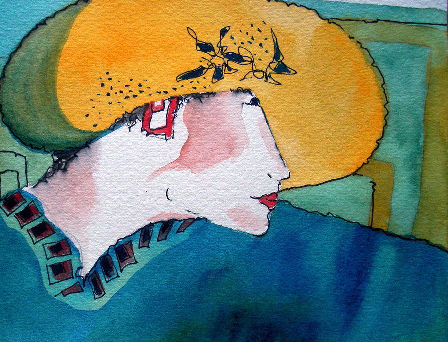Lady In Hat Painting - Yellow Hat by Jane Ferguson
