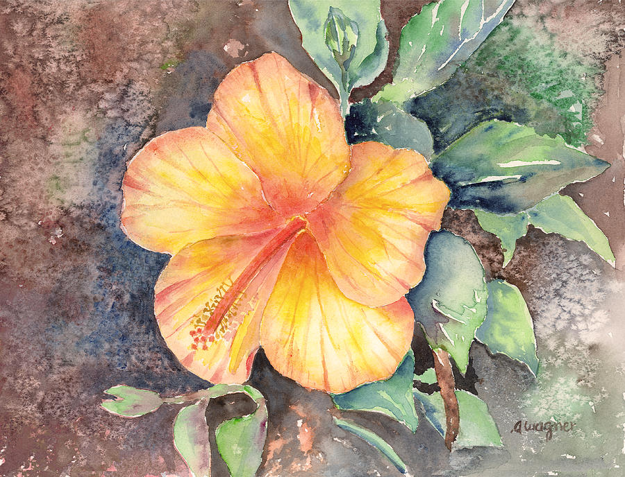 Hibiscus Painting - Yellow Hibiscus by Arline Wagner