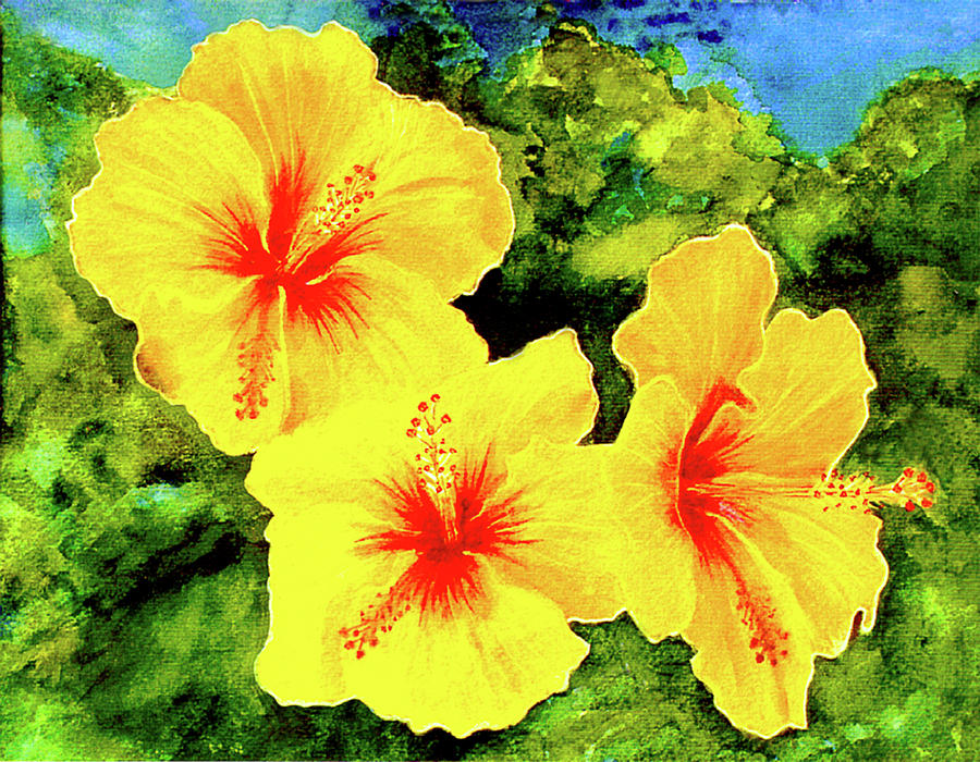 Hibiscus Painting - Yellow Hibiscus #65 by Donald k Hall