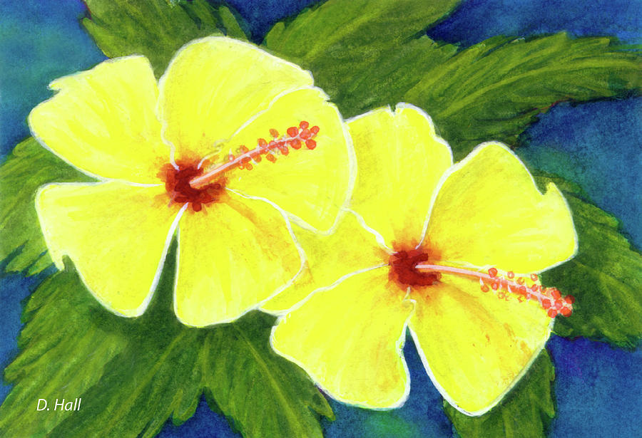 Hibiscus Painting - Yellow Hibiscus Flower #292 by Donald k Hall