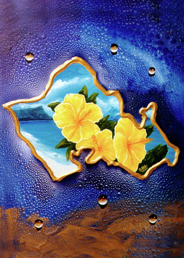 Diamond Head Painting - Yellow Hibiscus Hawaii State Flower #142 by Donald k Hall