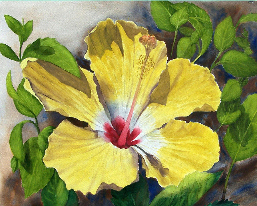 Floral Painting - Yellow Hibiscus by Robert Thomaston