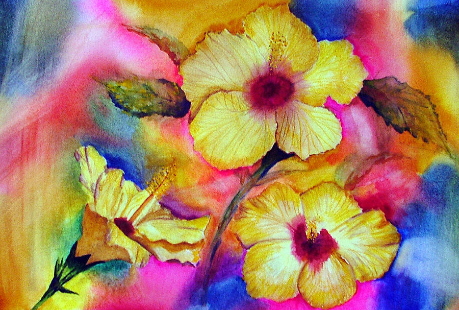 Yellow Painting - Yellow Hibiscus by Tina Storey