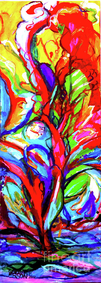 Yellow Painting - Yellow Iris Abstract by Genevieve Esson