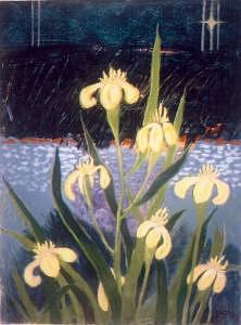 Yellow Painting - Yellow Iris by Jerry Wray