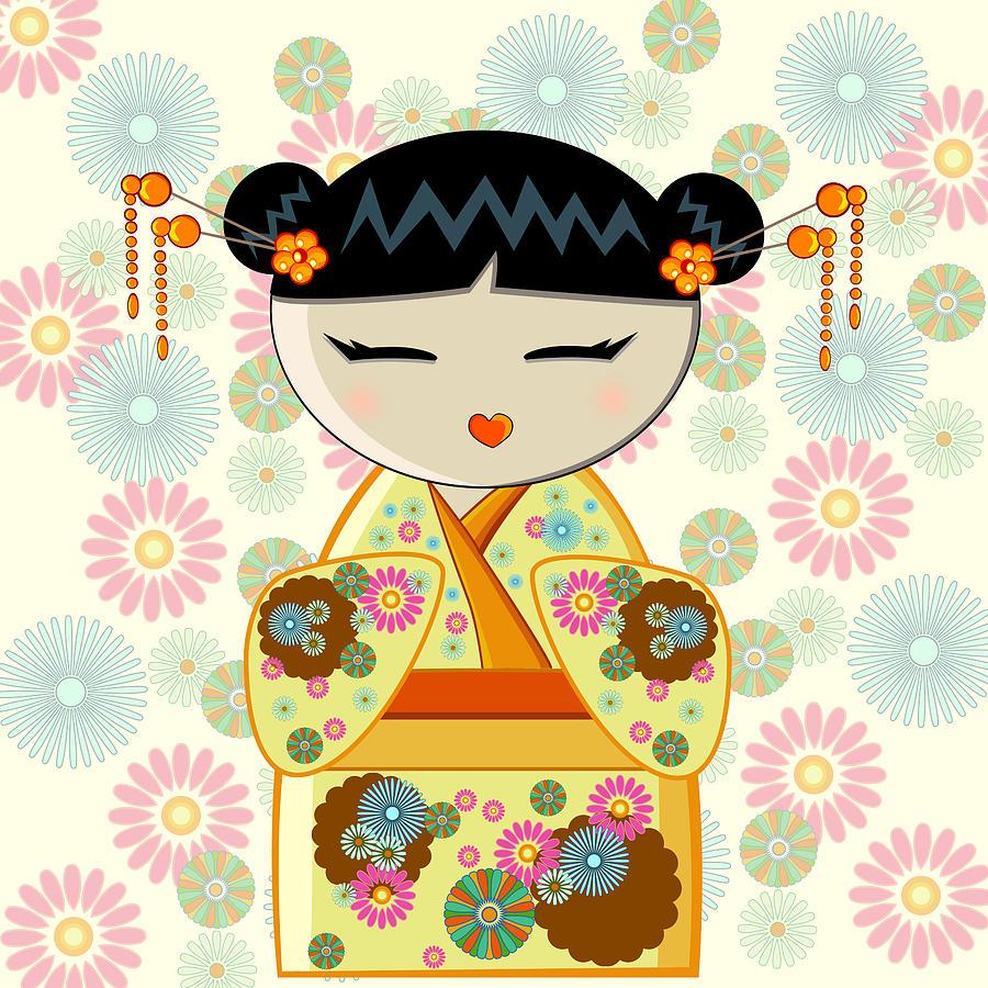 Yellow Kokeshi Digital Art by Roksana Skura