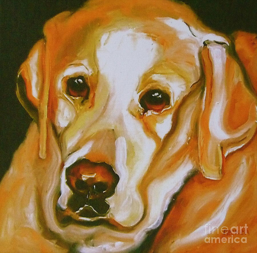 Oil Painting - Yellow Lab Amazing Grace by Susan A Becker