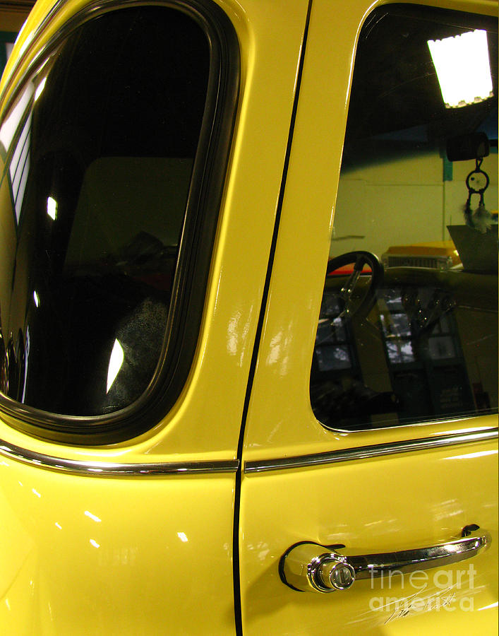 Truck Cab Photograph - Yellow Lady Abstract by Peter Piatt