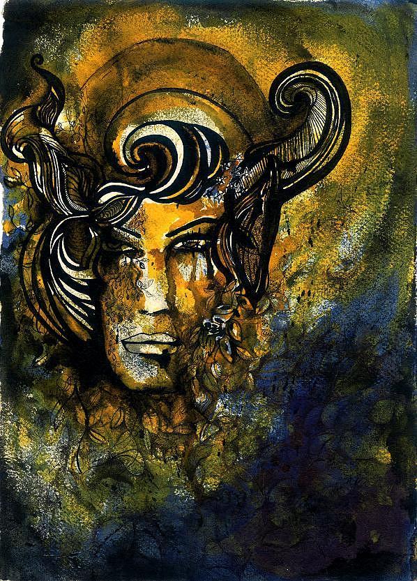 Yellow Face Painting - Yellow Light by Simrat  Sandhu Demello