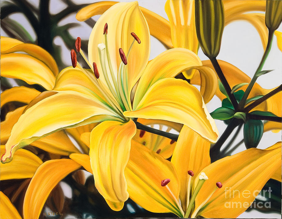 Yellow Painting - Yellow Lillys by Kim Estes
