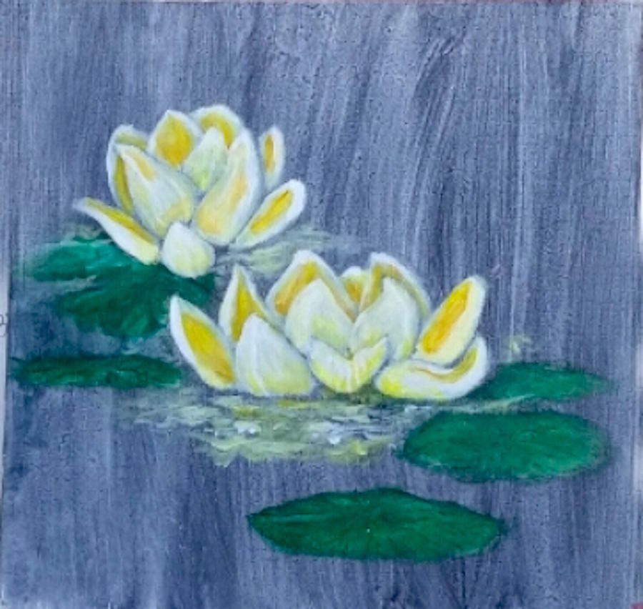 Yellow Lotus Flowers Painting By Jennie Hallbrown