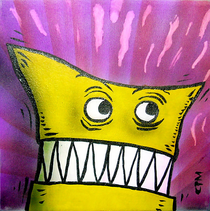 Monster Painting - Yellow Monster by Christian Morin