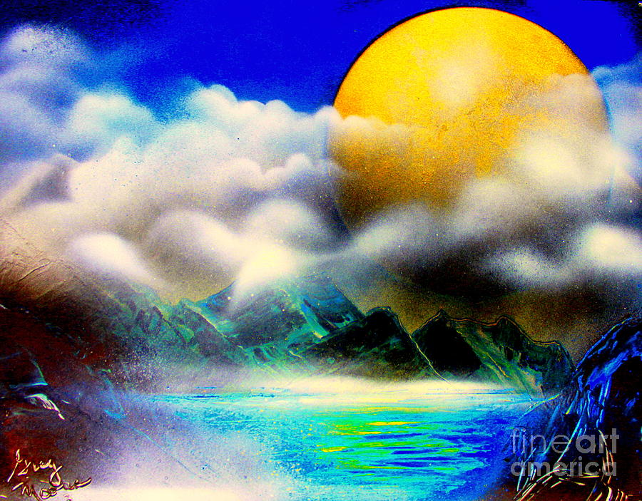Planets Painting - Yellow Moon 4682 E by Greg Moores