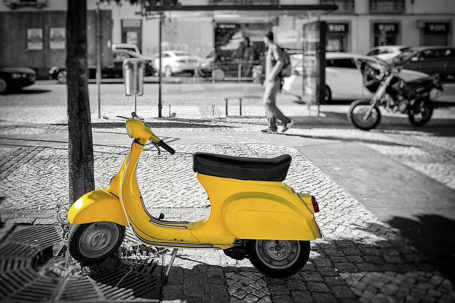 Yellow Moped Photograph