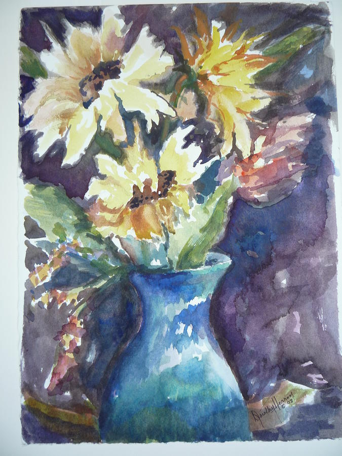 Yellow Flowers Painting - Yellow Mums by Dorothy Herron