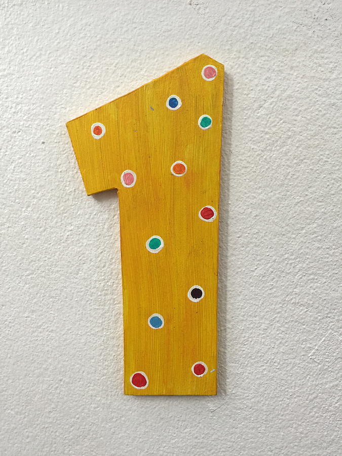 Yellow Number One With Colorful Spots Painting On Wood On White Wall ...